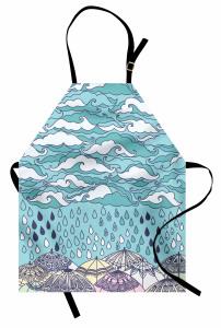 Bulutlar ve Yağmur Mutfak Önlüğü Mavi Bulutlar Şık Tasarım