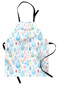 Sevimli Yağmur Damlası Mutfak Önlüğü Beyaz