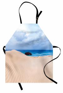 Eski Gemi Temalı Mutfak Önlüğü Kumsal Deniz Mavi Krem