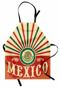 Meksika Bayrağı Desenli Mutfak Önlüğü Kırmızı Yeşil