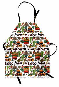 Meksika Gitar ve Kaktüs Mutfak Önlüğü Şık