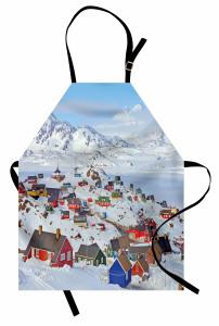 Karlı Rengarenk Evler Mutfak Önlüğü Şık Beyaz