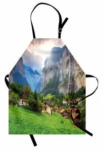 Yeşil Köy Dağ ve Güneş Mutfak Önlüğü Dekoratif