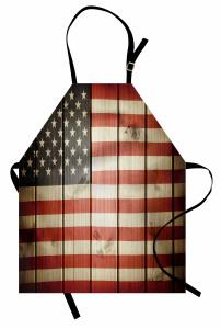 ABD Bayrağı Desenli Mutfak Önlüğü Ahşap Arka Planlı