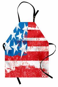 ABD Bayrağı Desenli Mutfak Önlüğü Şık Kırmızı Mavi