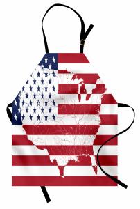 ABD Bayrağı ve Harita Mutfak Önlüğü Dekoratif