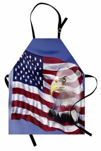 Kartal ve ABD Bayrağı Mutfak Önlüğü Bordo Mavi