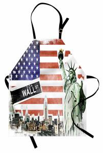 ABD Bayrağı ve New York Mutfak Önlüğü Kırmızı
