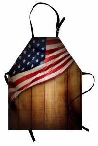 Kahverengi Ahşap Temalı Mutfak Önlüğü ABD Bayraklı