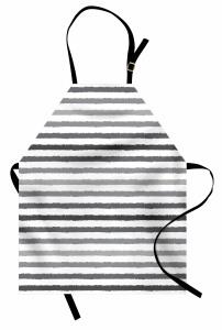 Gri Beyaz Çizgili Mutfak Önlüğü Şık Tasarım Trend