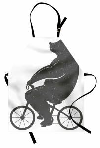 Bisiklete Binen Ayı Mutfak Önlüğü Siyah Beyaz