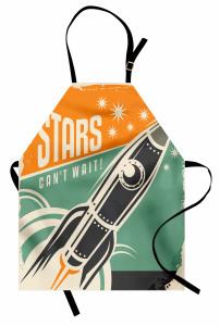 Retro Roket Afişi Mutfak Önlüğü Şık Tasarım
