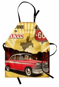 Kırmızı Araba Desenli Mutfak Önlüğü Retro Poster Sarı