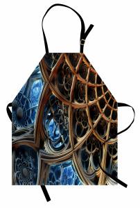 Fraktal Tasarımlı Mutfak Önlüğü Kahverengi Mavi 3D