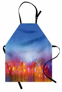 Rengarenk Dağ Çiçekleri Mutfak Önlüğü Çiçek Desenli Mavi