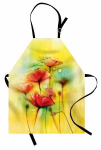 Sarı Çiçekler Desenli Mutfak Önlüğü Gelincikler Sarı