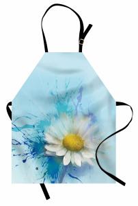 Papatya Desenli Şık Mutfak Önlüğü Çiçekli Mavi Beyaz Sarı