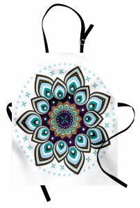 Çiçek Desenli Mutfak Önlüğü Mavi Şık Tasarım Trend