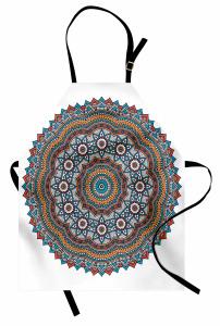 Çiçek Desenli Mutfak Önlüğü Mandala Trend Turuncu