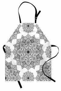 Çiçek Desenli Mutfak Önlüğü Siyah Beyaz Şık Tasarım
