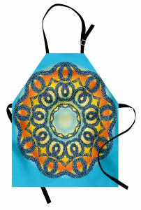 Sarı Mavi Şal Desenli Mutfak Önlüğü Dairesel Çiçekli