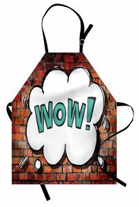 Beyaz Duvar Yazısı Mutfak Önlüğü Tuğla Fonlu