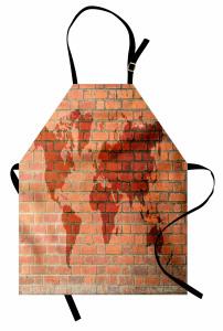 Dünya Haritası Desenli Mutfak Önlüğü Tuğla Efektli