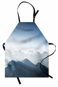 Sisli Dağlar ve Gökyüzü Mutfak Önlüğü Gri
