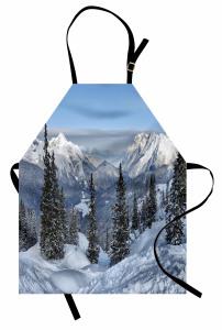 Karlı Çamlık ve Dağlar Mutfak Önlüğü Dekoratif