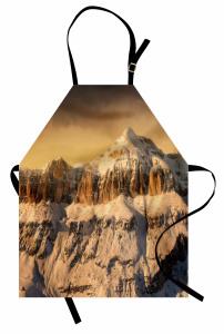 Karlı Kayalık Dağ Mutfak Önlüğü Şık Tasarım