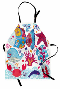 Süslemeli Balıklar Mutfak Önlüğü Sevimli Balık Balina Yunus