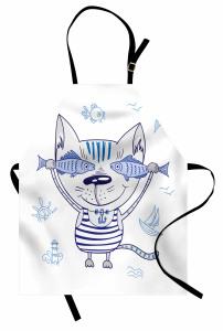 Sevimli Kedi ve Balık Mutfak Önlüğü Denizci Kedi ve Balıklar