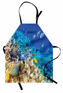 Mercan ve Balıklar Mutfak Önlüğü Balıklar Mavi
