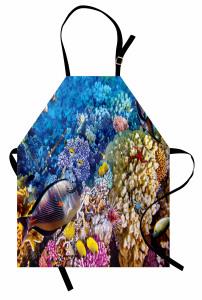 Rengarenk Mercanlar Mutfak Önlüğü Balıklar Mavi