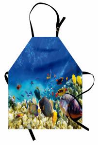 Deniz ve Balıklar Mutfak Önlüğü Balıklar Mavi