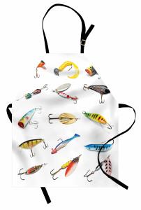 Olta ve Balık Temalı Mutfak Önlüğü Beyaz Şık Tasarım