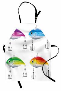 Rengarenk Balık Desenli Mutfak Önlüğü Olta Beyaz Fon