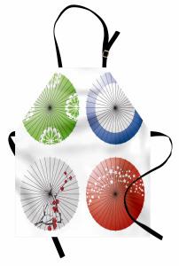 Japon Şemsiyesi Desenli Mutfak Önlüğü Rengarenk Şık