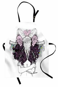 Mor Saçlı Kadın Desenli Mutfak Önlüğü Kemik Çiçek