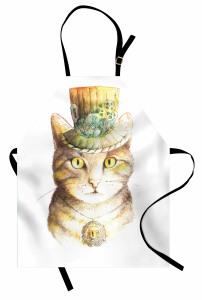 Şapkalı Kedi Desenli Mutfak Önlüğü Sarı Şık Tasarım