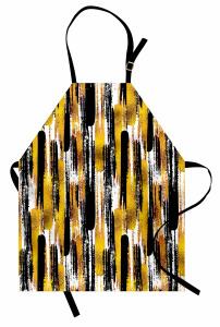 Fırça Darbesi Desenli Mutfak Önlüğü Altın Siyah Şık