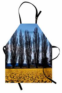 Ağaç ve Çiçek Temalı Mutfak Önlüğü Sarı Mavi Gökyüzü