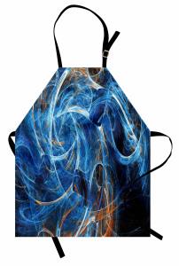 Duvar Kağıdı Desenli Mutfak Önlüğü Fraktal Mavi Şık