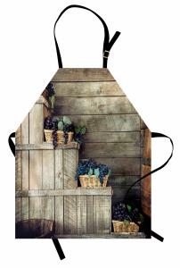 Hasır Sepet ve Üzüm Mutfak Önlüğü Kahverengi