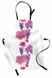Üzüm ve Yaprak Desenli Mutfak Önlüğü Pembe Mor Beyaz