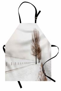 Karlı Orman Temalı Mutfak Önlüğü Beyaz Ağaç Gökyüzü