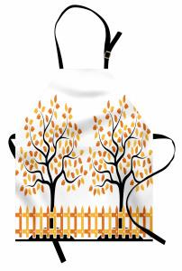 Turuncu Ağaç Desenli Mutfak Önlüğü Şık Tasarım Yaprak