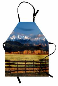 Karlı Dağ Manzaralı Mutfak Önlüğü Mavi Kahverengi