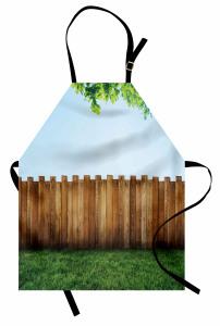 Bahçe Çiti Temalı Mutfak Önlüğü Kahverengi Mavi Yeşil
