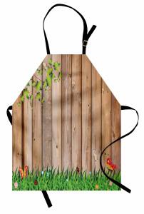 Ahşap Çit Temalı Mutfak Önlüğü Kelebek Kahverengi